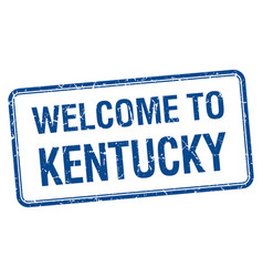 Welcome to kentucky blue grunge square stamp vector