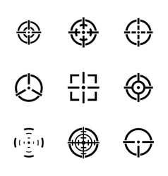 Balck crosshair icons set vector