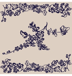 pattern floral flower silhouette vector image