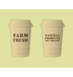 Stylish farm fresh paper cups template mock up vector
