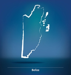 Doodle map of belize vector