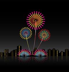 Bright festive fireworks vector