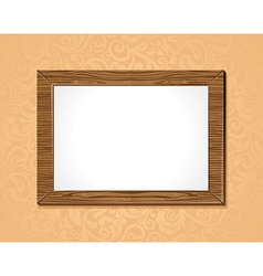 Wooden frame with white background on the wall vector
