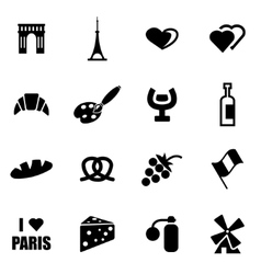 Black paris icon set vector