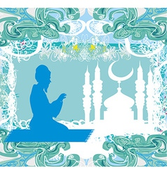 Abstract religious background - muslim man prays vector