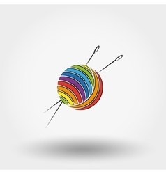Ball of yarn and needles vector image vector image