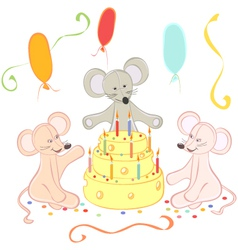 Birthday animals card vector image vector image