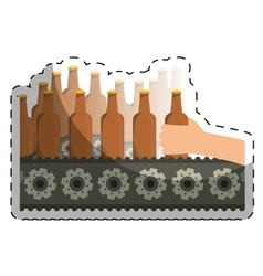 Bottles of beers in the factory icon image vector