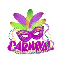 Bright carnival icons mask and sign vector