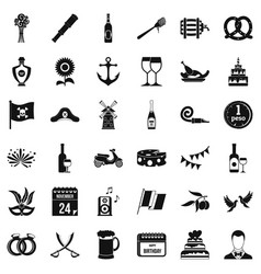 Celebrating icons set simple style vector