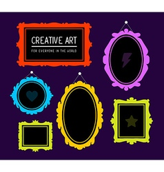 colorful set of rectangular and oval fram vector image vector image