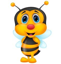 Cute bee cartoon vector image vector image