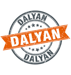 Dalyan red round grunge vintage ribbon stamp vector