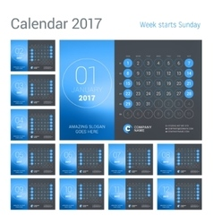 Desk Calendar for 2017 Year Design Print vector image vector image