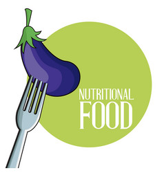 eggplant nutritional food fork image poster vector image vector image