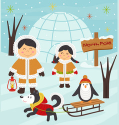 eskimo boy and girl with arctic animals vector image vector image