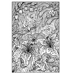 fairy engraved fantasy vector image vector image