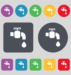 Faucet icon sign a set of 12 colored buttons flat vector