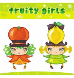 fruity girls series 4 orange lemon vector image vector image