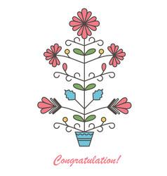 graphic flowers in flowerpot vector image vector image