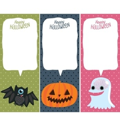 Halloween card set with pumpkin bat ghost vector image