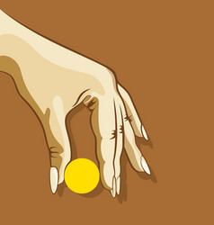 hand hold something object vector image