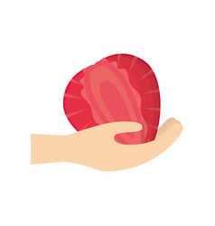 Hand holding strawberry fruit vector