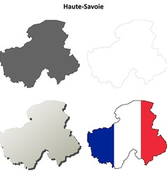 Haute-savoie rhone-alpes outline map set vector