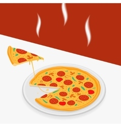 Hot pizza on a table vector