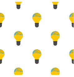 Light bulb and planet earth pattern flat vector