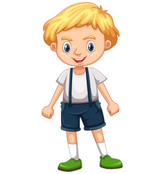 Little boy in overall suit vector