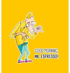 Mister espresso coffee in hipster style vector