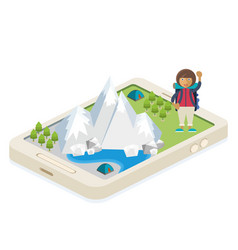 Mobile app for traveling and camping vector