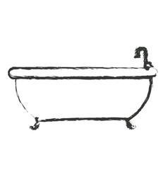 Monochrome blurred silhouette with bathtub icon vector