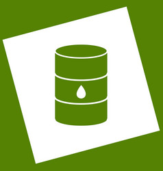 Oil barrel sign white icon obtained as a vector