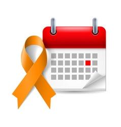 Orange awareness ribbon and calendar vector