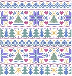 Pattern with trees and snowflakes vector
