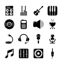 Recording studio symbols icons set simple style vector
