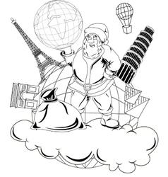 Santa Claus with globe vector image vector image