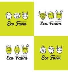Set of cute eco farm logos in doodle style vector