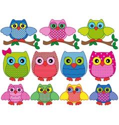 Set of eleven ornamental cartoon owls vector image