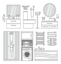 set of furniture in bathroom vector image vector image