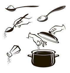 set of spoon salt shaker and pan vector image vector image