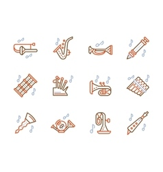 Simple color line icons for brass music vector