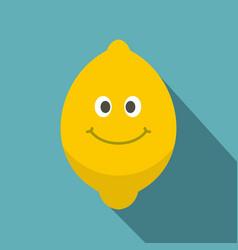 Smiling lemon fruit icon flat style vector