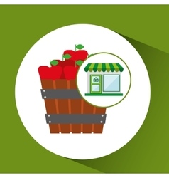 Store fresh apples bucket farm vector