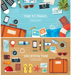 summer and travel flat banner background template vector image vector image