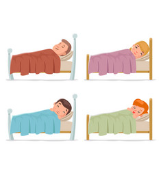 Sweet dream sleep man woman children boy girl bed vector