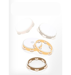 Three Tambourine on Brown Stage Background vector image