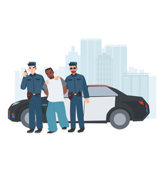 two policemen in uniform standing near police car vector image